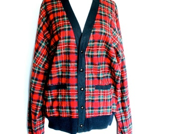 PENDLETON Mens Thin Wool Red Plaid Button Up Cardigan Jacket XL