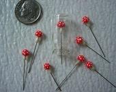 Tiny Red Spotted  Mushrooms, Miniature Mushrooms,Polymer Clay Miniature,Toadstool Miniature, Tiny  Red Mushrooms, Fairy Garden Miniature