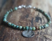 """African turquoise and Sterling Silver bracelet - Boho chic bracelet with rustic flower pattern charm - Ready to ship - 7.5"""" long"""