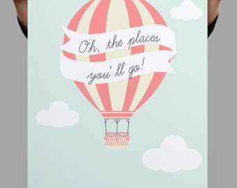 Oh the Places You Will Go Printable, Nursery Printables, Nursery Printable Art,Balloon Print, Parachute, Kids Playroom Decor, Kids Room Art