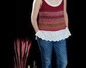 Women cropped tank top vest hand knitted out of cotton silk yarn, size Medium Large