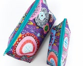 Purple Floral Makeup Pouch Small and Large Cosmetic Bags in Wipe Clean Fabrics