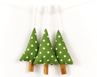 Rustic Christmas Decorations Green Polka Dot Linen Cinnamon Trees