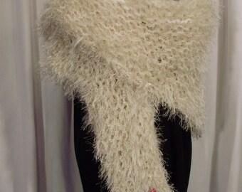 cream and white shawl--Teddy O'Bear Knit Wrap