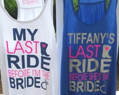 14 My Last Ride Boots and Bling Tank Tops - Monogrammed Bride and Bridesmaid Tank Tops - Great for a Bachelorette Party