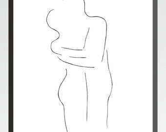 Kissing figures. Black and white art print. Drawing of couple holding each other. Minimalist embrace illustration.