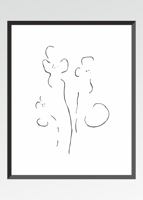 Line Drawing Etsy : Items similar to minimalist line art print black and