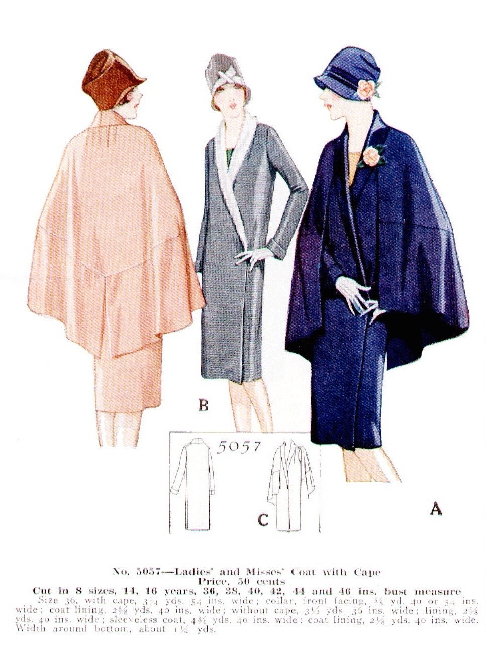 1920s coat pattern illustration - McCall 5057 (M7259)