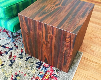 1960s Wood Cube Side Table - Mid Century Modern in the style of Milo Baughman Faux bois veneer box coffee end table - Mint Condition 2 Av