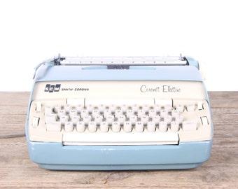 Vintage Smith Corona Blue Coronet Electric Typewriter / Working Electric Typewriter / Antique Typewriter / Vintage Typewriter Decor Prop