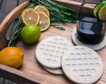 Concrete Coasters- Geometric Pockets, Gift under 40, Men's Gift, Wedding Gift, Housewarming Gift, Functional Art