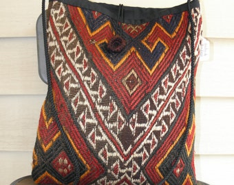 Vintage Rug Blanket Handbag Purse Pouch Native American Multicolor Handmade Made In USA Chimayo Indian