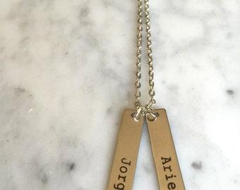 Couple Name Necklace, Couple Necklace, Girlfriend Gift, Name Necklace, Engraved Name Necklace, Engraved Bar Necklace, Custom Bar Necklace