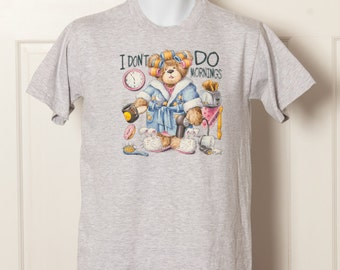 I DON'T DO MORNINGS - Bear in Curlers funny Tshirt