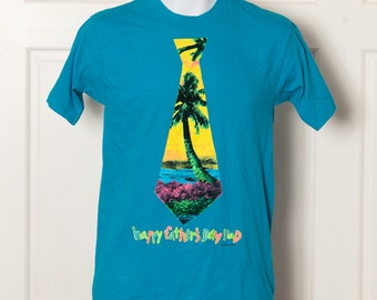 Vintage 80s Rad Happy Father's Day Dad Tshirt - bright colors tie - M
