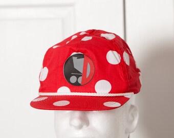 Red White Polka Dot Flat Bill Trucker Hat