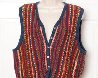 Colorful Knit Button Vest - Liz Wear Petite - petite L