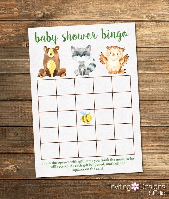 Woodland Friends Baby Shower Bingo - Neutral