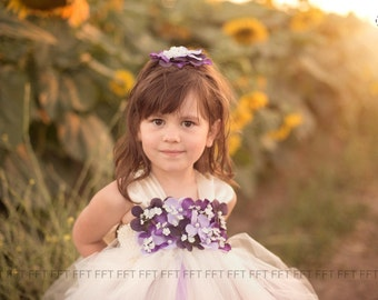 Purple, Plum, Lavender and Ivory (or white) Flower Girl Tutu Dress With Cap Sleeves