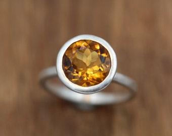Citrine Evening Ring - Citrine Silver Ring - Round Citrine Ring - Citrine Faceted Ring - Citrine Bezel Ring