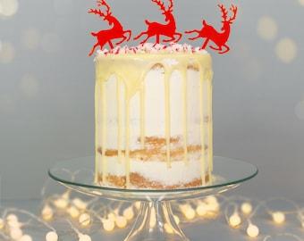 Christmas Reindeer Cake Topper - 3 pack