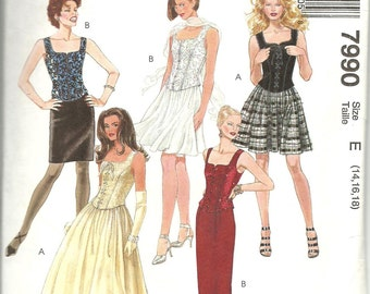 McCalls Pattern 7990 Misses Bustier Top and Skirt in Two Lengths & Styles (14-18) UNCUT