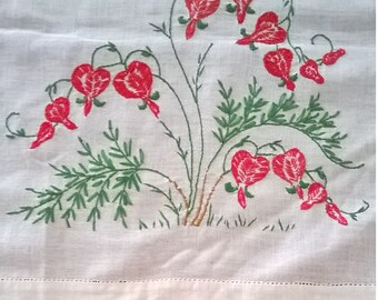Vintage Linen Table Runner or Dresser Scarf - Red and Green Embroidered Bleeding Hearts Design with Colorful Crochet Edging