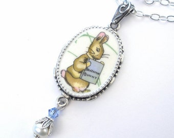 Broken China Necklace Beatrix Potter Benjamin Bunny Peter Rabbit Oval Pendant Vintage Charm Porcelain Jewelry by Charmedware
