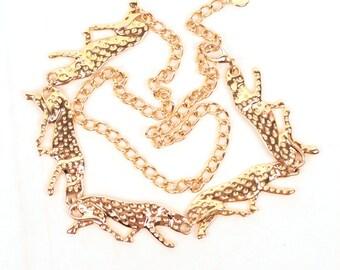 leopard chain belt // gold tone