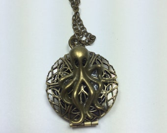 Locktopus: Bronze octopus locket necklace