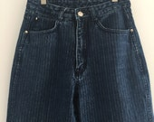 Vintage 80's Pinstripe High Waisted Jeans / Union Bay Loose Fit Denim S M 26