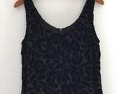 Vintage 90's Express Black Velvet Maxi Dress / Burnout Velvet Tank Dress S