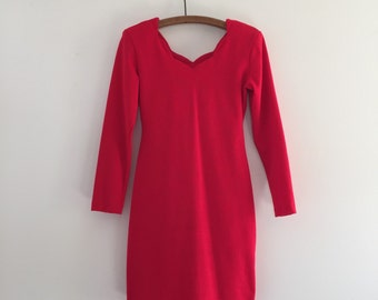 Vintage 80's Lipstick Red Mini Dress S
