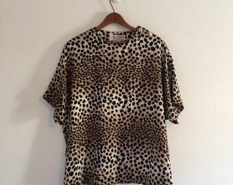 Vintage 80's Leopard Print Silk Tee / Silk Boxy Blouse M L