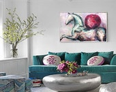 Original horse painting oil on canvas HORSE WITH APPLE expressionist large painting horse art by Elisaveta Sivas 31 x 47'