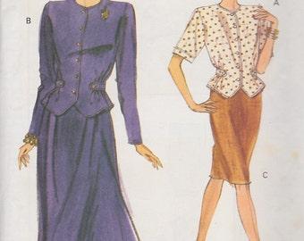 1990 Breezy Two Piece Dress Vintage Pattern, Very Easy Vogue 7886, Short Pencil, Long Flared Skirt, Big Shoulder Top Waist Cinched Half Belt