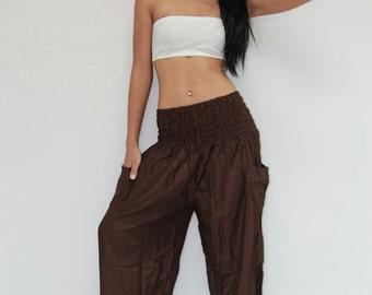 Pants PDC65 Brown Rayon Harem Genie Aladdin Casual Yoga Exercise Beach Women Trousers