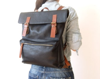 "Leather Backpack in Black - 15"" Laptop - Father Days Gift - Adjustable Detachable Leather Straps - Zippered Pocket"