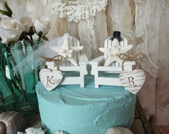 Beach wedding destination cake topper starfish bride and groom initials personalized miniature Adirondack chairs Mr and Mrs white beach