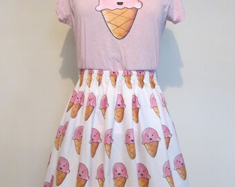 Kawaii Ice Cream Womens Fitted T-shirt