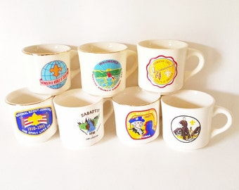 Vintage Boy Scout Mugs Cups Coffee Cups Vintage Boy Scout Jamboree Mugs Leadership Council Mugs Cups Scout Commerative Mugs Gift for Him