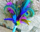 Feather bouquet, peacock feather, Purple, blue, turquoise, fuchsia feather bouquet, peacock feather bouquet, small, lime green