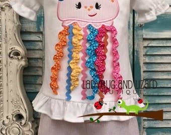 Girl's 3-D Ribbon Jellyfish Ruffle Top and Seerucker Ruffle Shorts Outfit Sizes 12M-18M, 2T-5T, 6