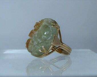 Vintage Ming's Honolulu Hawaii Size 8 Oval Carved Fine Jadeite Multi Colour Jade 14K Yellow Gold Ring 585 Gold Rare DanPickedMinerals