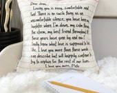 """12"""" Your Love Letter Pillow - Write Your Own Message - 2nd Cotton Anniversary - Notebook Paper Design - Insert Included - Loop & Toggle Back"""