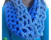 Blue Infinity Scarf handmade-Light blue infinity scarf, Dark blue infinity scarf handmade cotton recycled t-shirt yarn handmade