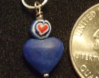 Small Lapis heart with red Heart bead Pendant