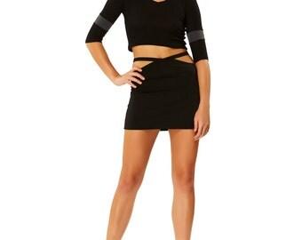 Peep Show Black Thong Mini Skirt X American Deadstock