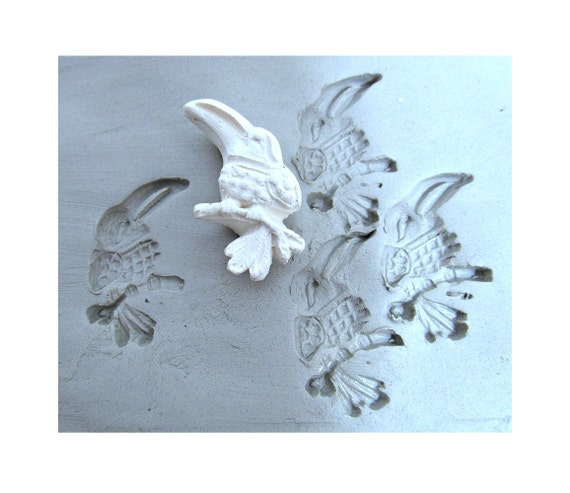Bird stamp hand carved pattern tool bisque