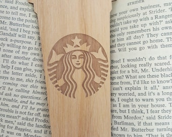 FREE US SHIPPING - Starbucks Cup Bookmark - Laser Engraved Alder Wood - Starbucks Cup Book Mark